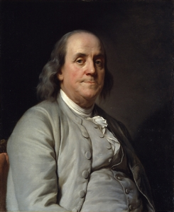 Benjamin Franklin by Joseph-Siffrein Duplessis circa 1785, collection of National Portrait Gallery