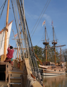 Raising sail on Godspeed, courtesy Jamestown-Yorktown Foundation