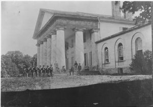 East front of Arlington Mansion (General Lee's home), with Union soldiers on the lawn, 28 June 1864, National Archives and Records Administration