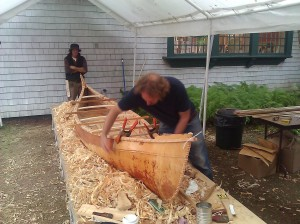 Building the canoe, summer 2013